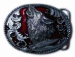 Howling Wolf Belt Buckle with display stand